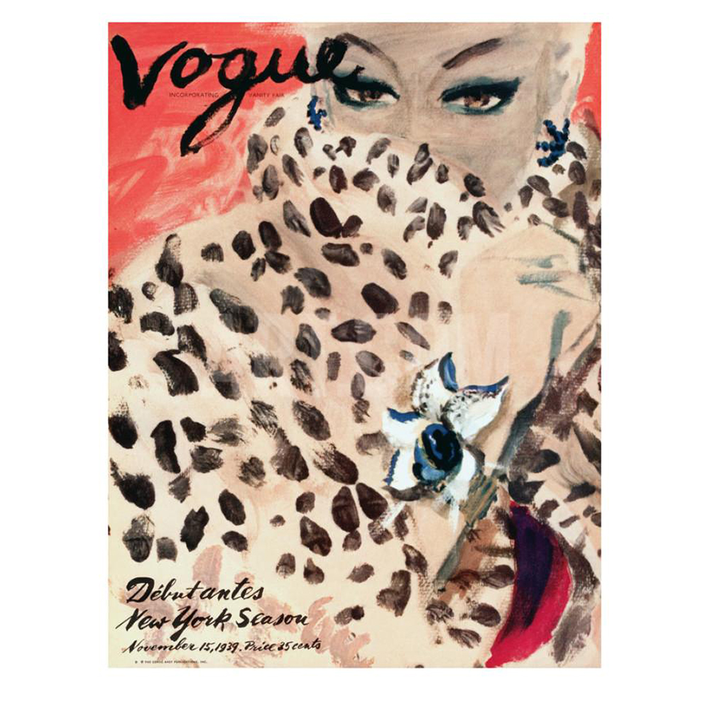 """""""Leopard Love"""" art illustration by Carl Erickson for the November issue, 1939, of American Vogue. Courtesy of Condé Nast International."""