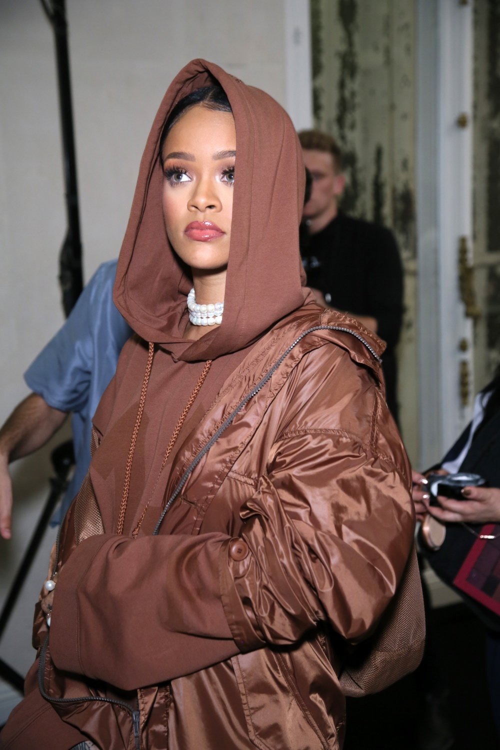 PARIS, FRANCE - SEPTEMBER 28: Rihanna is seen backstage during FENTY x PUMA by Rihanna at Hotel Salomon de Rothschild on September 28, 2016 in Paris, France. (Photo by Victor Boyko/Getty Images for Fenty x Puma)