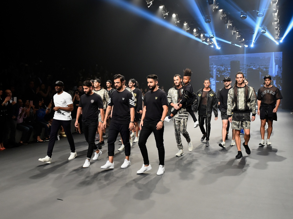 A model walks the runway during the Emperor Presented by Reebok show at Fashion Forward March 2017 held at the Dubai Design District on March 24, 2017 in Dubai, United Arab Emirates.